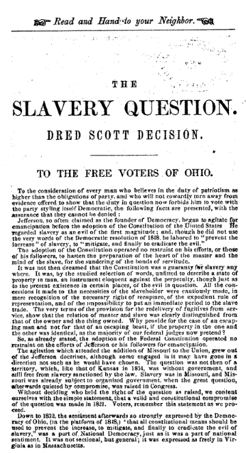 The Slavery Question Pamphlet