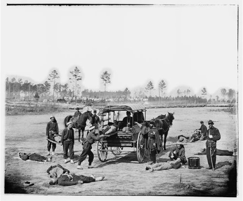 Zouaves practicing ambulance drill